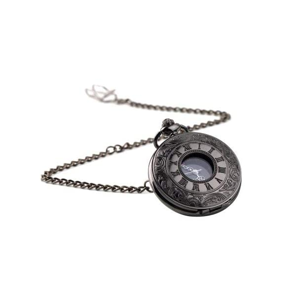 WIOR Black Classical Pocket Watch Retro Steampunk Pattern Quartz Numerals Pocket Watch with 14.5 in Chain for Xmas Birthday Fathers Day Gift