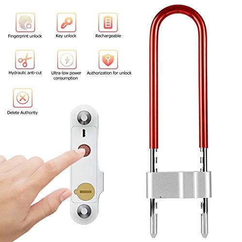Aluminiumlegierung Fingerabdruck Türschloss USB Charge U Typ Vorhängeschloss for Bike Büro Lager Codeschloss (Color : Red)