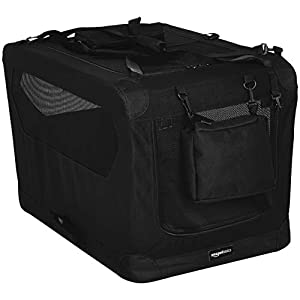 Amazon Basics Premium Folding Portable Soft Pet Dog Crate Carrier Kennel – 30 x 21 x 21 Inches, Black