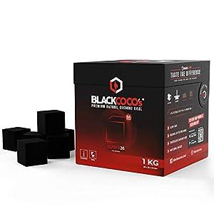 BLACKCOCO's – 1KG Carbón Natural de Coco Premium Cachimba y BBQ – Briquetas de Carbón de Coco de Alta Calidad Shisha y Barbacoas – Cubos de Carbón Barbacoa y Narguile con largo tiempo de combustión