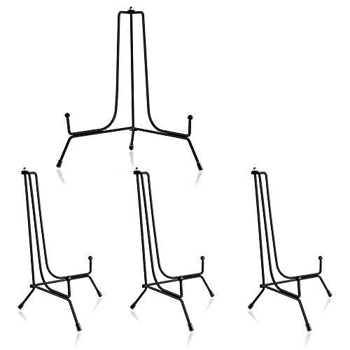 ipow 4 Stück Eisen Tellerständer 8 Zoll Verstellbarer Tellerhalter Metall Staffelei Aufsteller Display Ständer, schöner Bilderständer für Foto, Kunst, Teller, Bücher, Bild - Schwarz