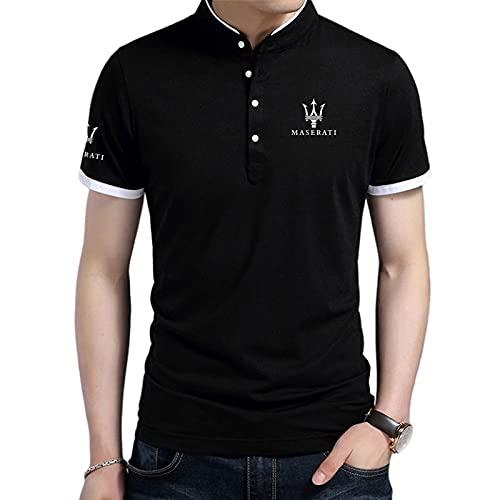 BOLGRTYXC Camisa de cuello alto para hombre Camiseta de manga corta con estampado de LOGOTIPO Ma-sera-ti Camisetas de polo de algodón para hombres y mujeres Engranaje/Negro/XL
