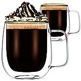 2 Piezas Tazas de Café de Vidrio de Doble Pared de 350 ml Vasos de Vidrio de Borosilicato Resistentes a Calor Taza Aislada de Vidrio Transparente para Cappuccino Té Bebidas Calientes Frías