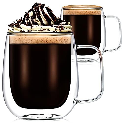 2 Pezzi 350ml Tazza da Caffè in Vetro a Doppia Parete Tazza Vetro Borosilicato Resistente a Calore Tazze Isolanti in Vetro Trasparente per Latte, Tè, Birra, Succhi, Bevande Calde e Fredde