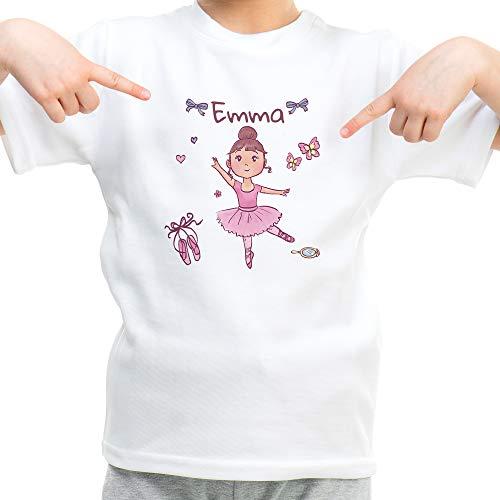 LolaPix Camiseta Niña Personalizada con Nombre/Texto. Regalos Infantiles Personalizados. Varios Diseños a Elegir. Tacto Algodón. Bailarina Rosa