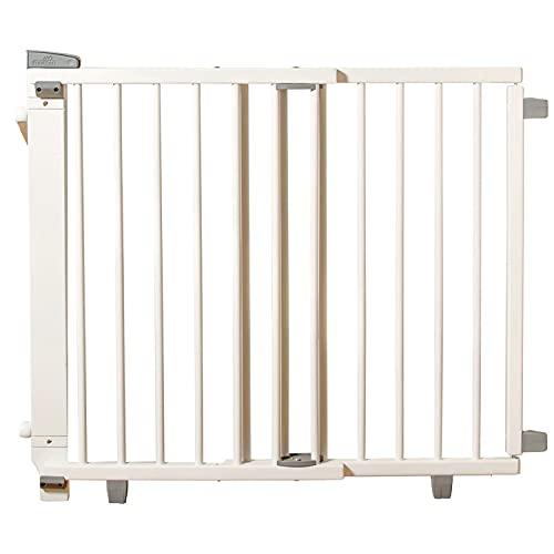 Geuther 2733+ schwenkbares Treppenschutzgitter, Türschutzgitter, Türgitter (Passung: 67 cm - 107 cm, zum Bohren & Klemmen, extra hohes Babygitter, stufenlos einstellbar, Sicherheitsverschluss), Weiß