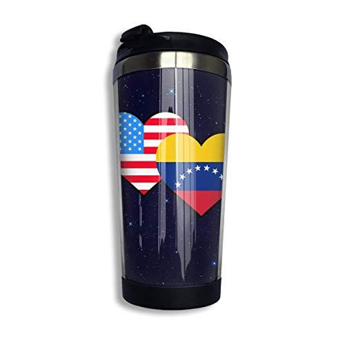 Taza Café Americana Venezuela Hraet Flag-1 Con Tapa Para Té Café Acero Inoxidable Portátil 400 Ml