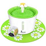 Cat Water Fountain with Water Level Window, Ultra Silent Healthy and Hygienic Cat Waterfall Flower Style Fountain, 3 Modes Drinking Fountain, with 1 Carbon Filter and 1 Large Silicone Mat, Green