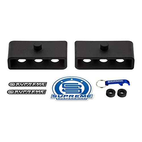"""Supreme Suspensions - Rear Leveling Kit for Dodge: 2003-2013 Ram 2500 and 2003-2012 Ram 3500 High Strength Steel Rear Lift Blocks 4WD   1.5"""" Rear Lift"""