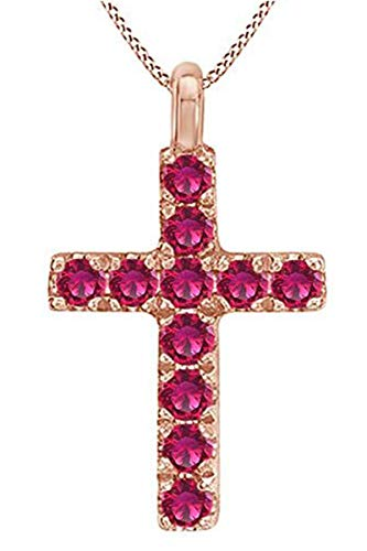 AFFY Mother's Day Jewelry Gifts Round Cut Simulated Ruby Cross Pendant Necklace in 14k Rose Gold Over Sterling Silver