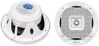 Lanzar Marine Speakers - 5.25 Inch 2 Way Water Resistant Audio Stereo Sound System with 400 Watt Power,  Attachable Grills and Resin Treatment for Indoor and Outdoor Use - 1 Pair - AQ5CXW (White)