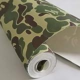 Taogift Papel pintado autoadhesivo de vinilo verde con diseño de camuflaje para paredes, armarios, estanterías, muebles, vinilo extraíble