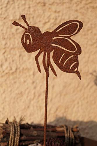 Rostalgie Edelrost Biene auf Stab Gartendekoration Topfstecker Insekten Honigbiene