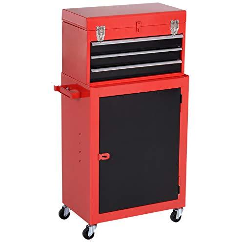 DURHAND Carrello Porta Attrezzi Porta Utensili Da Officina Cassetti Ruote Metallo 45.9 × 28 × 94cm Rosso