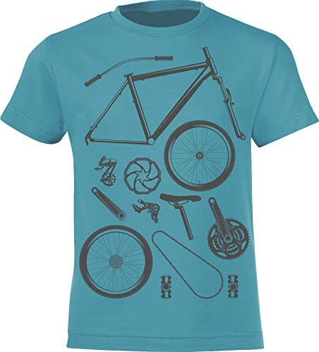 Kinder T-Shirt: Bike Parts - Fahrrad Geschenk-e Jungen & Mädchen - Radfahrer-in Mountain Bike MTB BMX Roller Rad Outdoor Junge Kind - Verkehr Schule Sport Trikot Geburtstag (Blau 122/128)