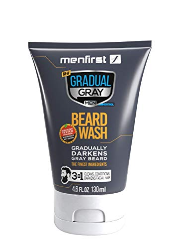 MENFIRST Gradual Gray Darkening Beard Wash For Men, Facial Hair Shampoo and Conditioner Cleans and Gradually Reduces White Beard Color with Every Wash For Natural Looking Results - Clean Ingredients, 4.6 oz