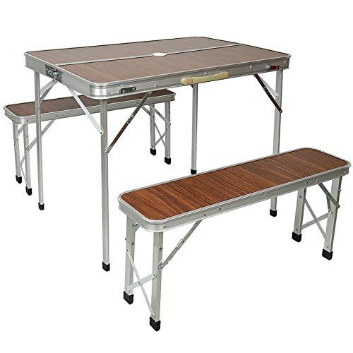 tavolo pieghevole, tavolo campeggio, con 2 panche, lega di alluminio, pieghevole, 60 * 90 * 70 cm (HW212347_02)