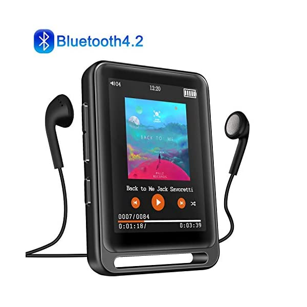 "MP3 Player, Searick 16G MP3 Player with Bluetooth 4.2, 2.4"" LCD Portable HiFi Lossless Sound Music MP3 Players with FM Radio/Voice Recorder, Support up to 128GB (Headphone, Armband, Lanyard Included) 3"