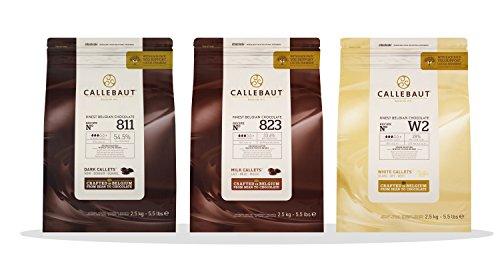Callebaut 3 x 2,5kg Bundle - Copertura di Cioccolato al Latte, Fondente & Bianco Belga - Finest Belgian Chocolate (Callets) Confezione da 3 x 2,5kg