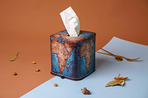 QIELIZI Tissue Box Cover,PU Leather Magnetic Closure Tissues Cube Box Cover for Bathroom Vanity Countertops, Bedroom Dressers, Night Stands, Desks and Tables(Vintage Map)