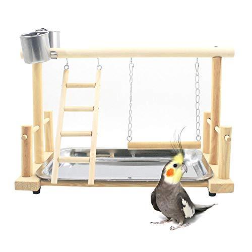 Parrot Playstand parque para pájaros de madera, soporte para gimnasio, parque de...
