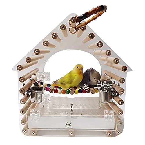 DDSFDS Trasportino per Uccelli Appendere, Gabbia per Uccelli Professionale Piccola E Durevole in Acrilico, Gabbia Viaggio Uccelli Parrocchetti Animali Domestici Portatili con Manico, Facile Pulire