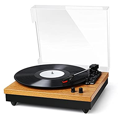 Record Player - BC Master Turntable for Vinyl Records, 3-Speed Retro Design LP Player, Wireless Bluetooth Record Player Built-in Speaker Belt-Drive Stereo Turntable