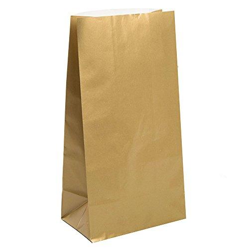 Unique Party 10 bolsas de regalo de papel, color oro metalizado, paquete de 30 (59019)