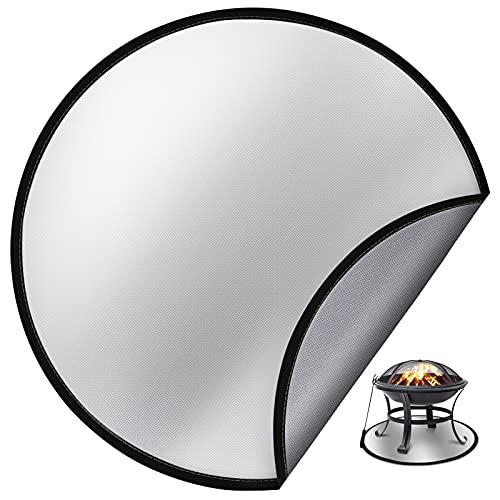Eletorot Feuerfeste Unterlage für Feuerschale, 61cm Feuerschutzmatte für Holz Deck der Rasen, Hitzebeständige Feuerfeste Matte für Feuerstelle Feuerkorb Grill, Feuerstelle Zubehör