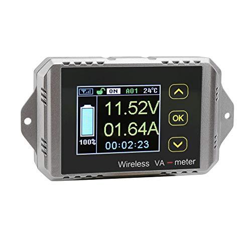 Amperímetro de voltaje Panel medidor, Droking amperímetro digital Voltímetro Multímetro DC inalámbrico 0-100V 0-100A Voltio Medidor de potencia de corriente Probador de carga de batería Indicador