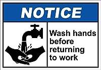 屋外の装飾アルミニウムサイン、仕事に戻る前に手を洗う通知、警告サイン私有財産のための金属屋外の危険サイン錫肉サインアートヴィンテージプラークキッチンホームバー壁の装飾