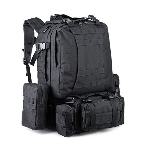 Zeadio Grand sac à dos tactique militaire, sac à dos de survie, sac d assaut Molle – Noir