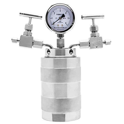 Huanyu 6MPa Autoclave de alta presión 180 ℃ 25 ml Reactor PTFE con salida de entrada de gas (25 ml)