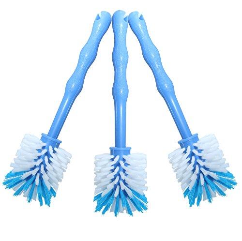 24now 3er Pack Mixtopf Spülbürste mit Nylonborsten - ideal zum Reinigen von Mixtöpfen wie z.B. Thermomix ® TM5/TM31 und Mixtöpfe Anderer Hersteller - 3X Blau