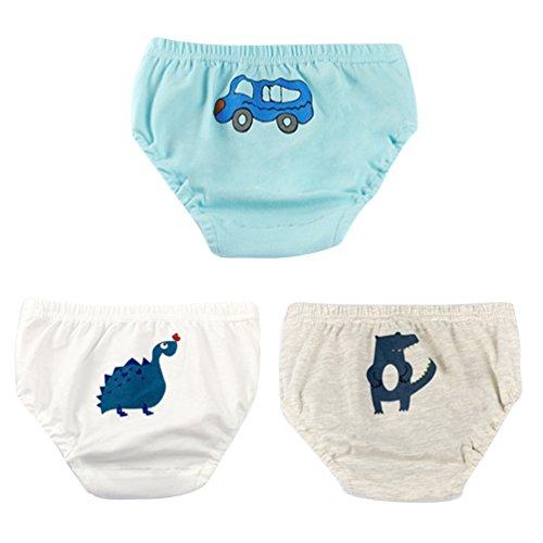 JEELINBORE Baby Jungen Weich Höschen Unterhosen Cartoon Panties Briefs Slips Trainerhosen Unterwäsche, 3er Pack | für 1-5 Jahre (Krokodil (3PCS), 90)