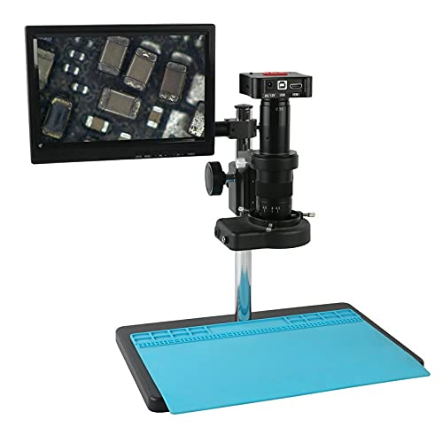 JUNYYANG Microscope 4K UHD 50MP HDMI USB Industrial Video Microscope Camera 180X 300X Electronic Digital Magnifier for Lab/PCB Jewelry Soldering (Color : C, Magnification : 300x)