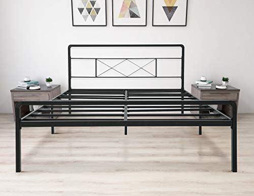 zizin King Metal Platform Bed Frame with Headboard and Footboard Heavy Duty Steel Slat Support Mattress Foundation/Easy Assembly/Noise-Free/Anti-Slip