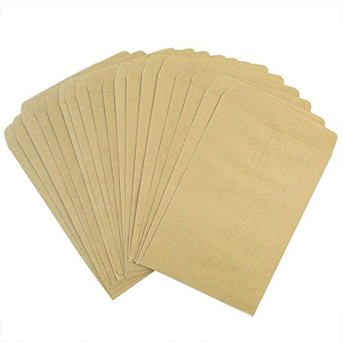 """50 Packs Seed Envelopes, Bantoye 5"""" x 3.5"""" Blank Proterra Seed Paper Bags for Home and Garden Use, Great for Party Favors, Saving Seeds, Storing Keys & Other Small Objects"""