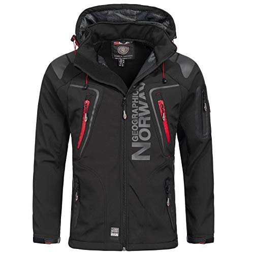 Geographical Norway-Chaqueta cortavientos para hombre, modelo: Techno, chaqueta de entretiempo con capucha, impermeable y funcional, anorak para exterior, vacaciones, otoño, invierno Negro M