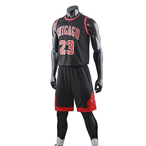 Camiseta De Baloncesto Legend Para Hombre, Michael Jordan - Uniforme De Baloncesto De Los Chicago Bulls 23 #, Logotipo Y Número Del Equipo Bordado, Camiseta Sin Mangas + Pantalón Corto,Negro,4XL