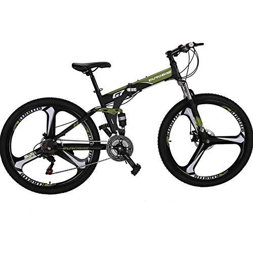 "EUROBIKE Folding Bike 21 Speed Full Suspension Mountain Bicycle 27.5"" Daul Disc Brake Mens MTB (ArmyGreen)"
