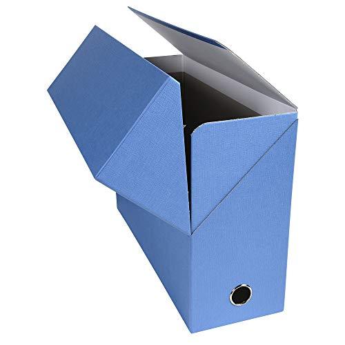 Exacompta 89422E - Caja archivadora forrada con papel entelado, lomo de 12 cm, color azul claro
