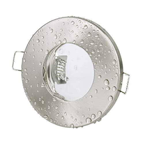 Badezimmer Einbaustrahler IP65 | Edelstahl gebürstet | Rund | Ohne Leuchtmittel | Geeignet für LED und Halogenleuchtmittel | GU10 und MR16 Fassung inklusive | Bad Einbauleuchte Dusche wasserdicht