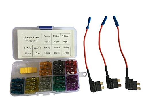 KOLACEN Automotive Car Standard Kit de Cuchilla Fuse Assorted Kit 81 Piezas + 3 Piezas 16 AWG Add-a-Circuit Adaptador Tap estándar de Fusible