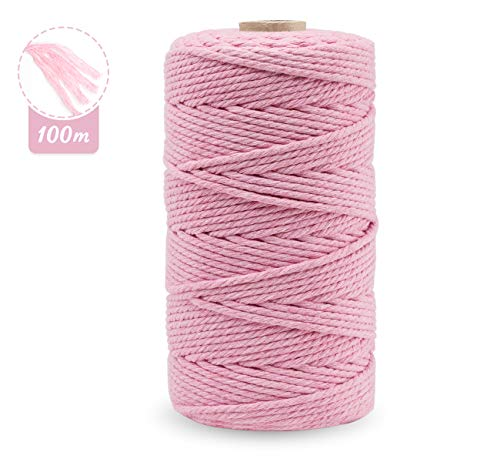 Cordón de macramé de 3 mm x 100 m, cuerda de algodón de macramé natural para manualidades, cuerda de algodón para colgar en la pared, colgar plantas, manualidades, tejer, proyectos decorativos rosa