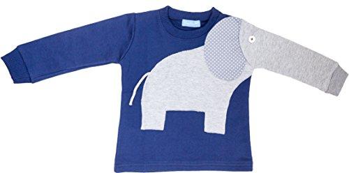 Pullover Elefant Kinder Shirt Mädchen Jungen Größe 92 98 Blau Grau Langer Arm Rüssel Baumwolle Fairtrade Ringelsuse