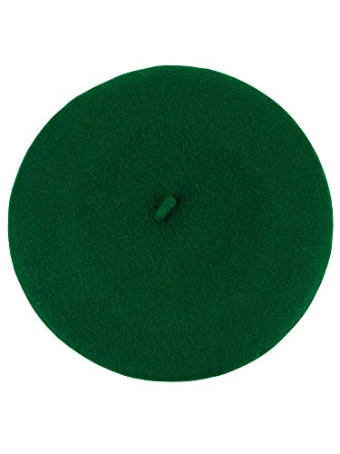 NYFASHION101 French Style Lightweight Casual Classic Solid Color Wool Beret, Kelly Green