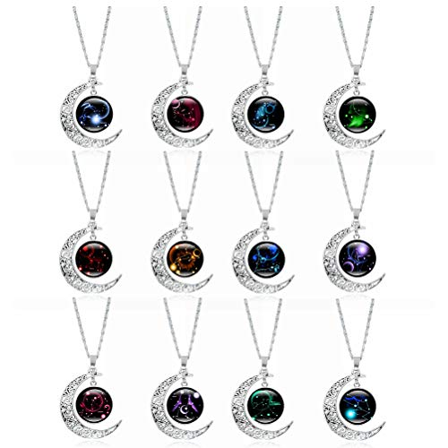 Qhome 12 Constellation Necklace Set, Women 925 Sterling Silver 12 Zodiac Astrology Crescent Moon Pendant, Galaxy Luminous Glass Coin Long Chain Gifts for Girls