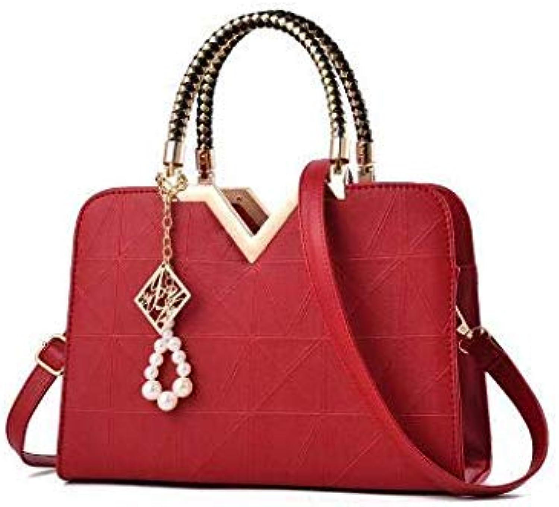 Bloomerang Women Bag Female Briefcase Handbag OL Shoulder Bag PU Messenger Bags Casual Crossbody Bags Purse Satchel Tote XS-108 color Red