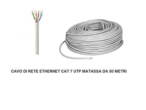 My smart shop MATASSA 50 MT Metri Cavo di Rete UTP Cat 7 LAN ETHERNET M Bobina Internet ADSL Plug Modem Router Access Point REAPETER CAT7